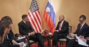 U.S. Vice President Joe Biden, second from right, talks to Slovenian President Borut Pahor, third from right, in Zagreb, Croatia, Wednesday, Nov. 25, 2015. Biden attends a conference of southern and eastern European leaders to discuss the surge of migration this year. (AP Photo/Darko Bandic, Pool)