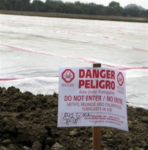 FILE - In this Aug, 12, 2005 file photo, a sign, required by law, warns of a pesticide application of methyl bromide on a field near Watsonville, Calif. Nine months after a vacationing family was nearly killed by exposure to methyl bromide on the island of St. John, authorities have come to at least one troubling conclusion: The use of the banned pesticide was not an isolated event in U.S. Caribbean territories. (AP Photo/Rita Beamish, File)