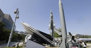 A mock Scud-B missile of North Korea, right, and other South Korean mock missiles are displayed at the Korea War Memorial Museum in Seoul, South Korea, Monday, May 16, 2016. South Korea, the United States and Japan will hold their first joint military training next month focused on cooperating to detect signs of missile launches from North Korea and trace missile trajectories, a Seoul defense official said Monday. (AP Photo/Ahn Young-joon)