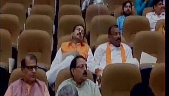 As CM Yogi Adityanath spoke on GST Bill, UP MLAs enjoyed a nap; pics become viral