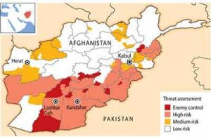 "Almost half of Afghanistan is at a high risk of attack by the Taliban and other insurgents or is under ""enemy control,"" a secret Afghan government map shows, painting a dire security picture before presidential elections."