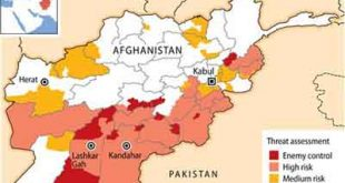 """Almost half of Afghanistan is at a high risk of attack by the Taliban and other insurgents or is under """"enemy control,"""" a secret Afghan government map shows, painting a dire security picture before presidential elections."""
