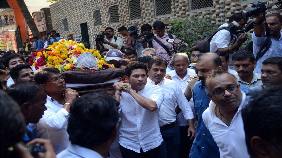 Shiv Sena asks why no state funeral for Achrekar, tells Sachin Tendulkar to boycott government programmes